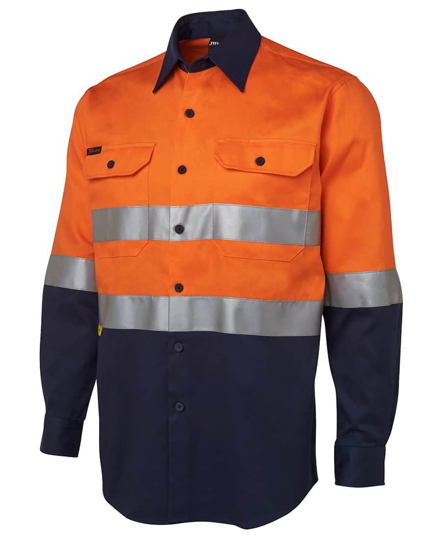 6HLS JB's Hi Vis D or N Taped Long Sleeve Cotton Drill Shirt orange navy