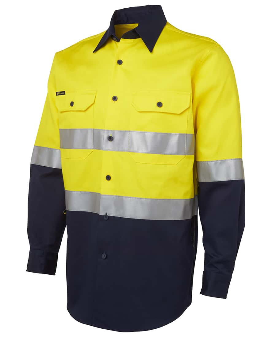 6HLS-JB's-Hi-Vis-D-or-N-Taped-Long-Sleeve-Cotton-Drill-Shirt-yellow navy