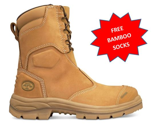 55285 55385 Oliver AT55 Series High leg Zip Steel Capped Work Boot WHEAT