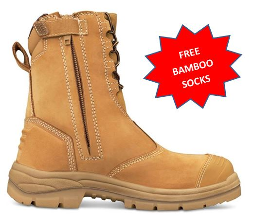 59671d3ae56 55285/55385* Oliver AT55 Series High leg Zip Steel Capped Work Boot WHEAT +  FREE Bamboo Socks