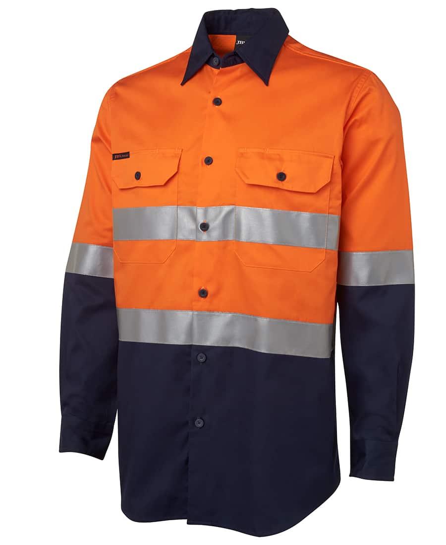 6DNWL JB's Lightweight Hi Vis D or N Taped Long Sleeve Cotton Drill Shirt-orange navy
