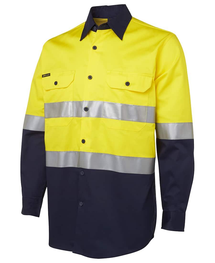 6DNWL JB's Lightweight Hi Vis D or N Taped Long Sleeve Cotton Drill Shirt-yellow navy