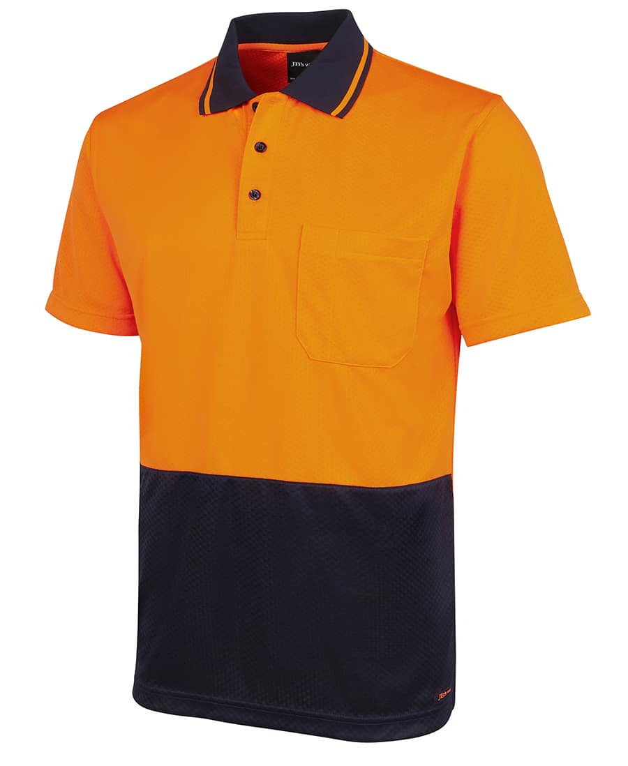 6HJNC Short sleeve 'Extra Cool' Hi Vis polo orange navy