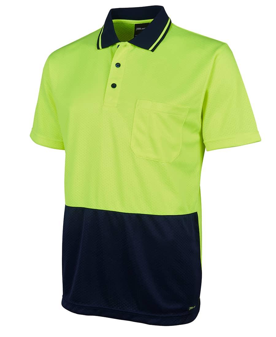 6HJNC Short sleeve 'Extra Cool' Hi Vis polo yellow navy