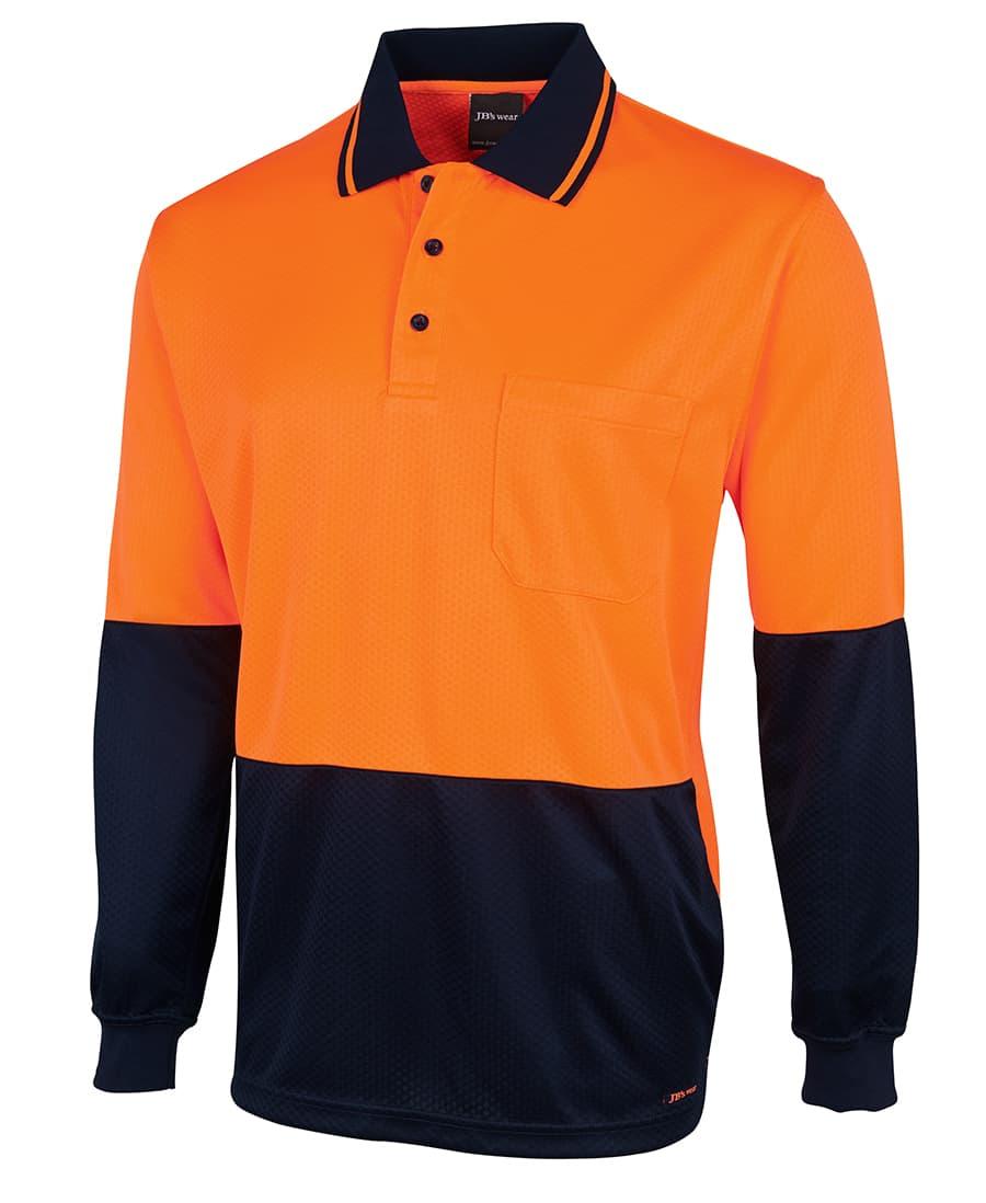 6HJNL JB's Long sleeve 'Extra Cool' Hi Vis polo orange navy