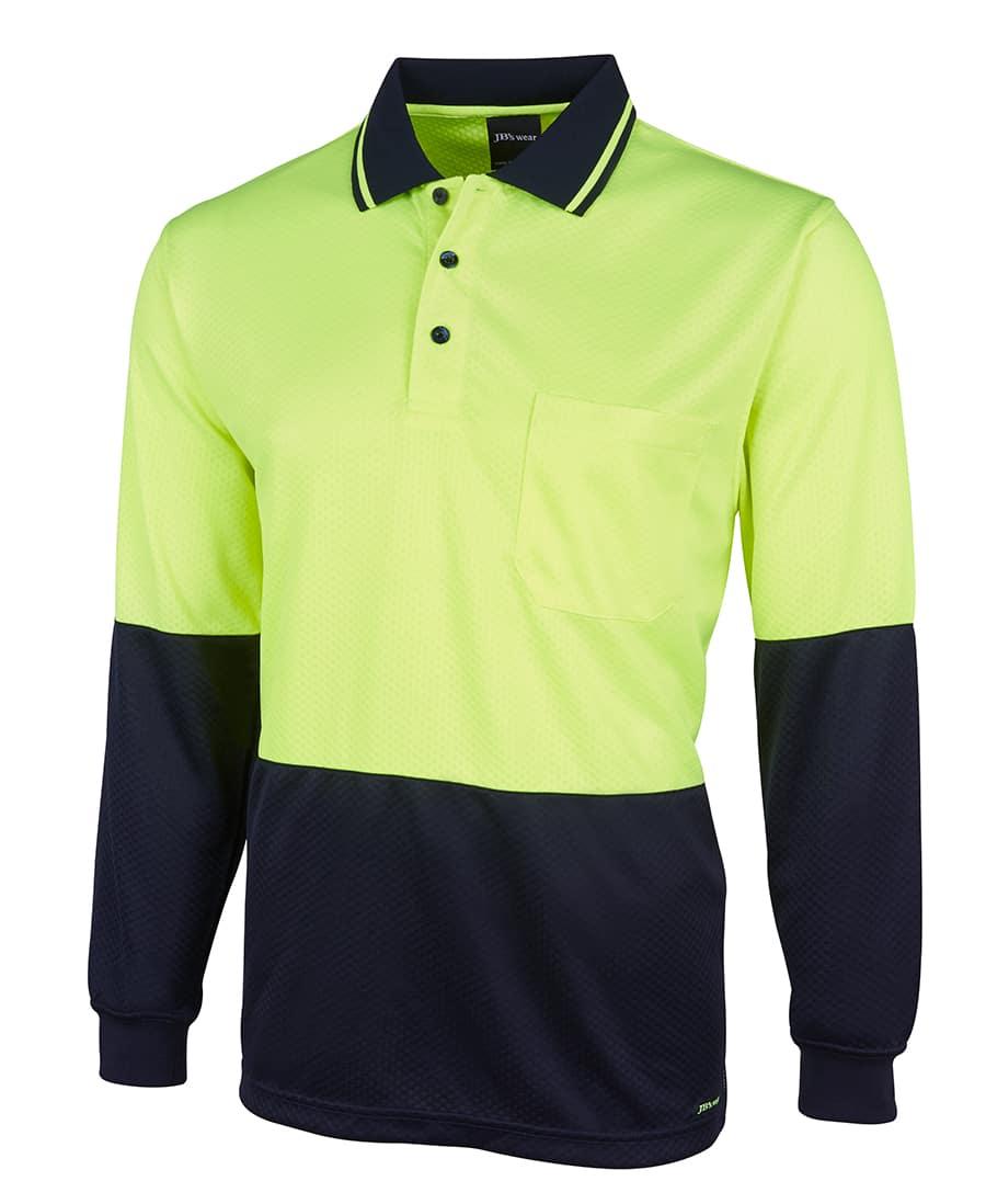 6HJNL JB's Long sleeve 'Extra Cool' Hi Vis polo yellow navy
