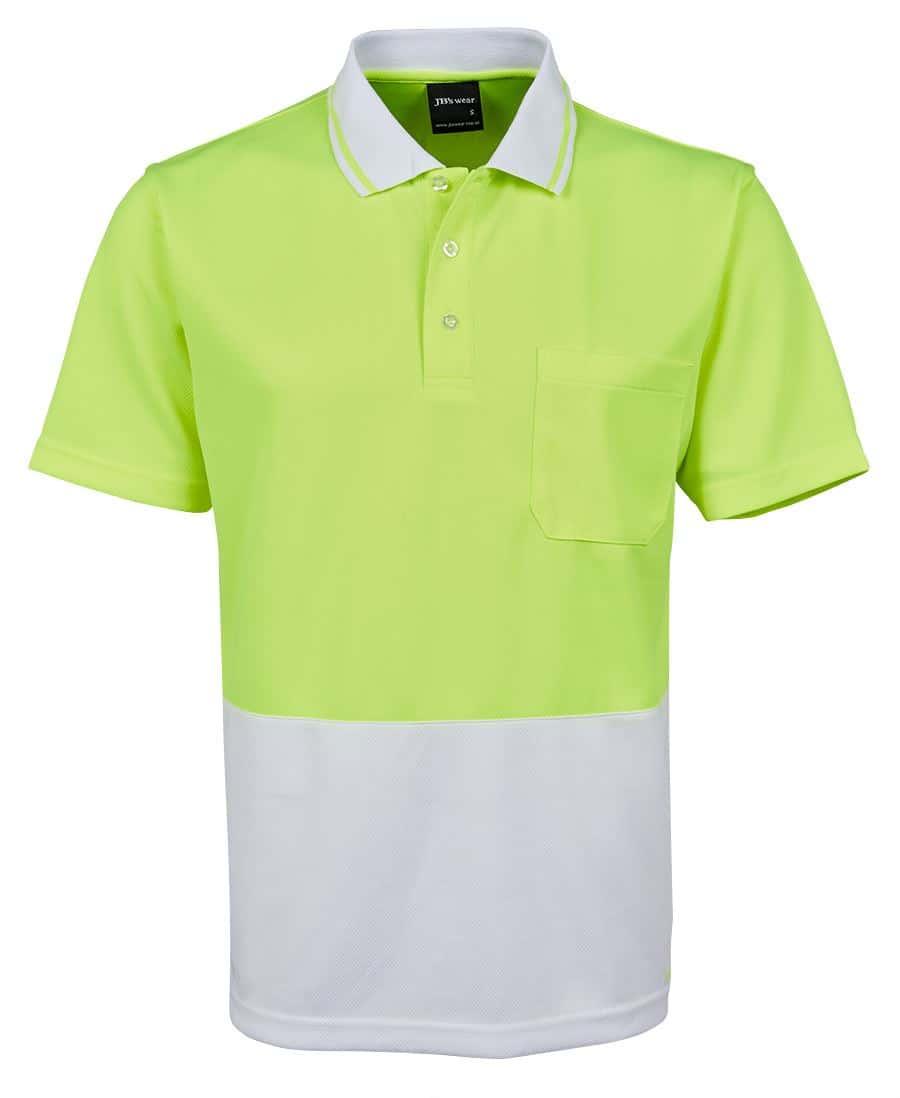 6HVNC JB's Hi Vis Short Sleeve Non Cuff Polo LIMEWHITE
