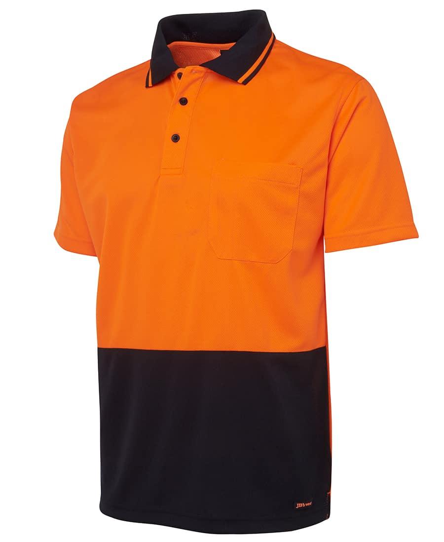 6HVNC JB's Hi Vis Short Sleeve Non Cuff Polo orange