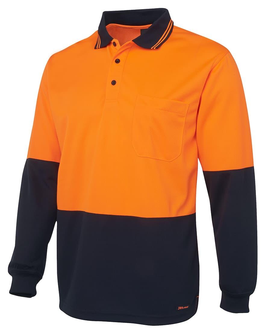 6HVPL JB's Hi Vis Long Sleeve Polo orange