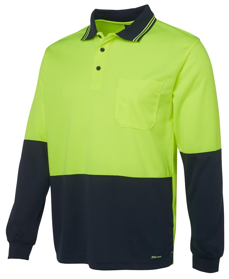 6HVPL JB's Hi Vis Long Sleeve Polo yellow