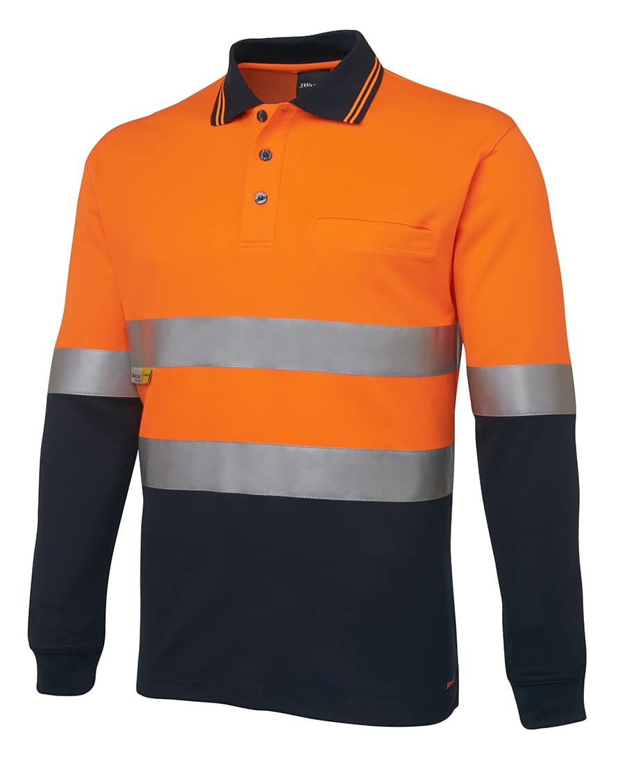 6HVSL JB's Hi Vis Long Sleeve Day or Night Taped Polo orange