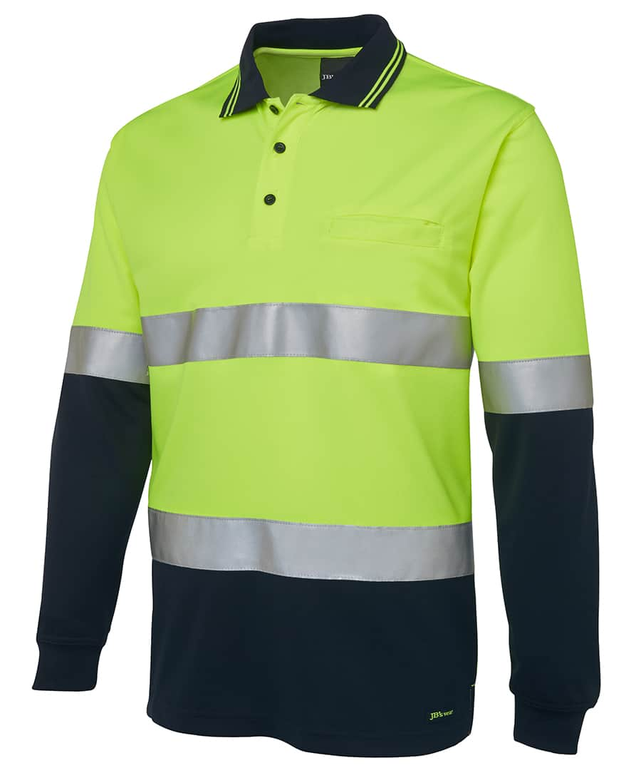 6HVSL JB's Hi Vis Long Sleeve Day or Night Taped Polo yellow