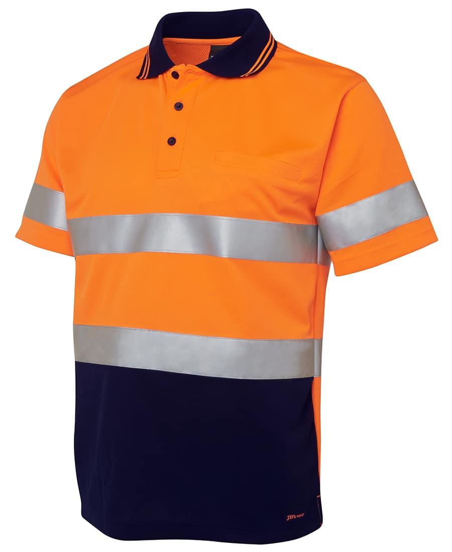 6HVST JB's Hi Vis Short Sleeve Day or Night Taped Polo orange
