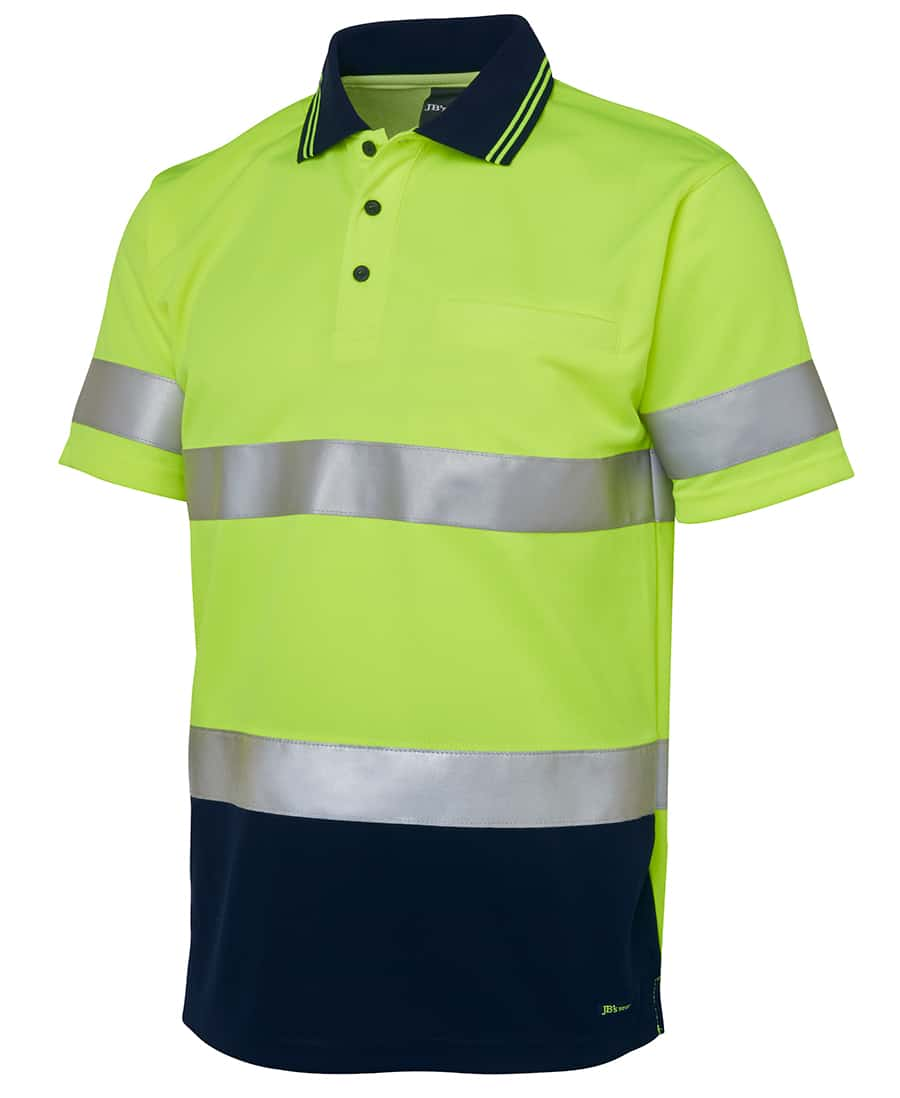 6HVST JB's Hi Vis Short Sleeve Day or Night Taped Polo yellow