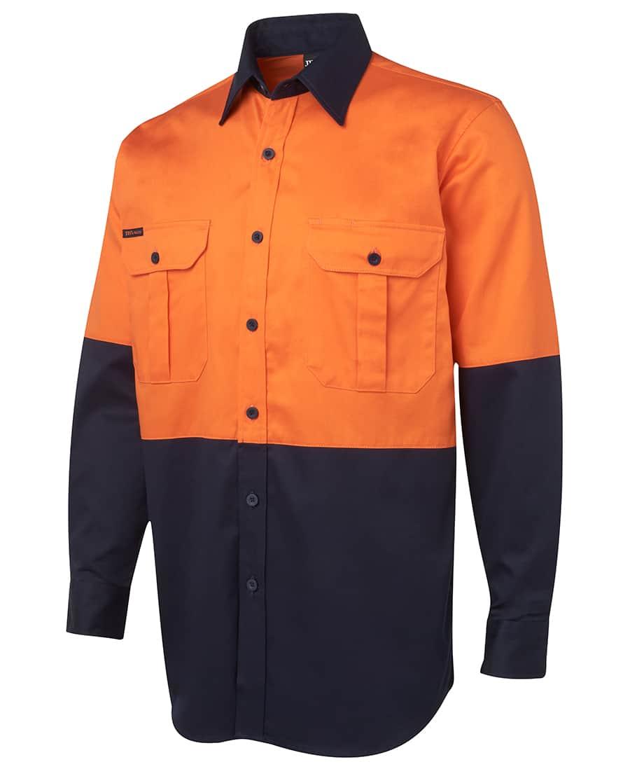 6HWL JB's Hi Vis Long Sleeve Cotton Drill Shirt orange navy