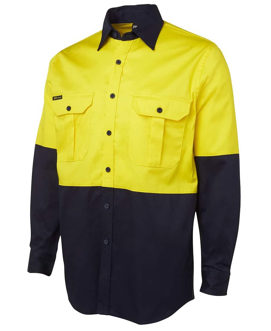 6HWL JB's Hi Vis Long Sleeve Cotton Drill Shirt yellow navy