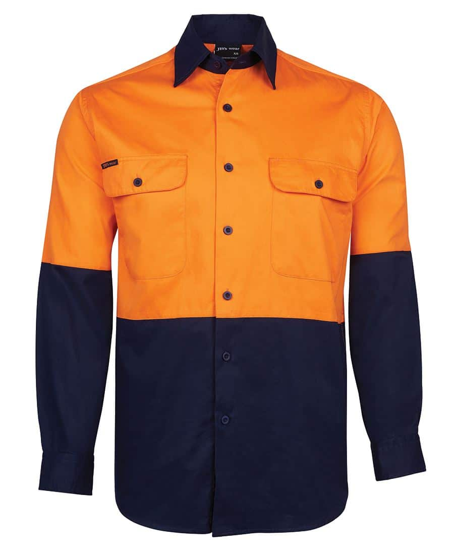 6HWSL JB's Hi Vis Long Sleeve Cotton Drill Shirt orange navy
