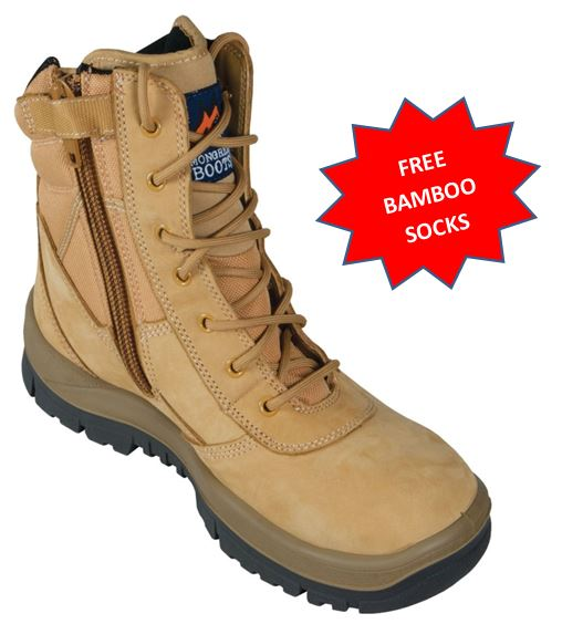 Mongrel 251050 Steel Capped Zip Sided Mid Cut work boot WHEAT