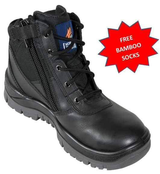 261020 Mongrel Steel Capped Zip Sided Ankle work boot BLACK