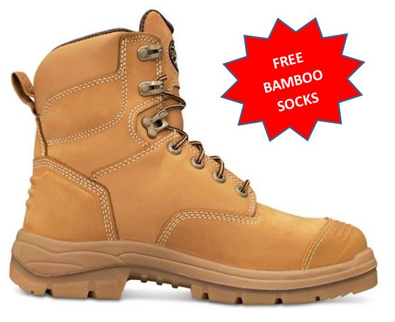 55232 55332 Oliver AT55 Series Steel Capped Mid Cut Work Boot WHEAT