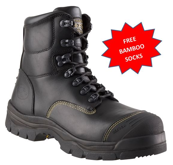 6dc5a626805 55345/55245* Oliver AT55 Series Steel Capped Mid Cut Work Boot BLACK + FREE  Bamboo Socks