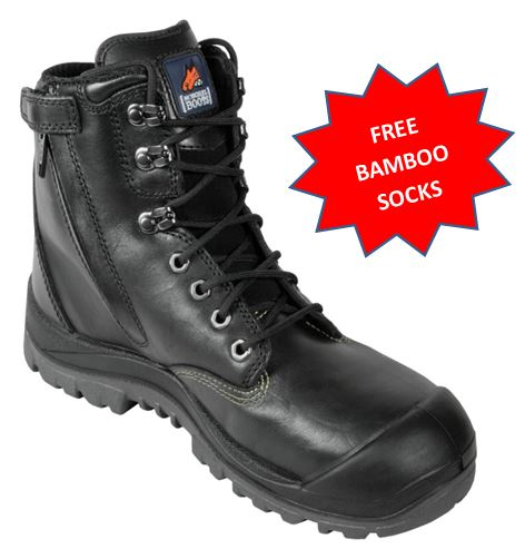561020 Mongrel Steel Capped Mid cut Zip Sided Mid Cut work boot with bump cap BLACK