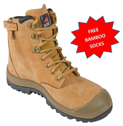 561050 Mongrel Steel Capped Mid cut Zip Sided Mid Cut work boot with bump cap WHEAT