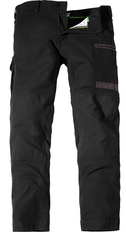 WP3 FXD Mens workwear pants stretch black front