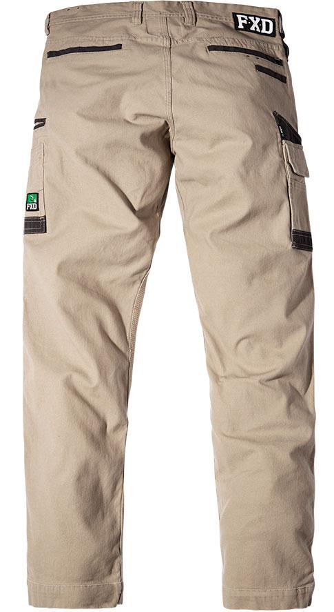 WP3 FXD Mens workwear pants stretch khaki back